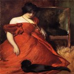 John White Alexander (1856-1915)  Black and Red  Oil on canvas, 1896  47 1/2 x 35 1/2 inches (120.65 x 90.17 cm)  Public collection